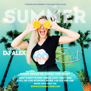Summer Party Time Freebie Flyer PSD Templates