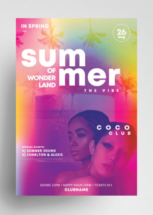 Summer Vibe Flyer Free Template PSD