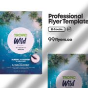 Tropic Summer Party Free PSD Flyer Template