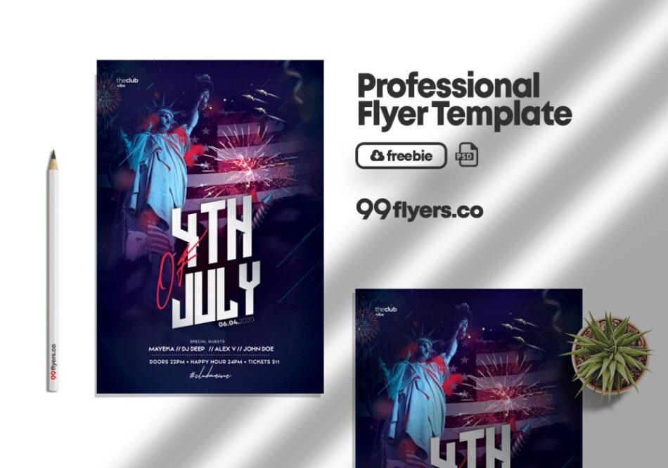 4th July Day Flyer Free PSD Template