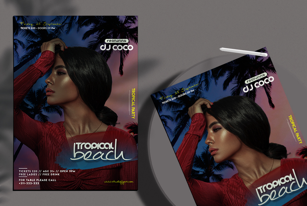 Beach Event Party Flyer Free PSD Template