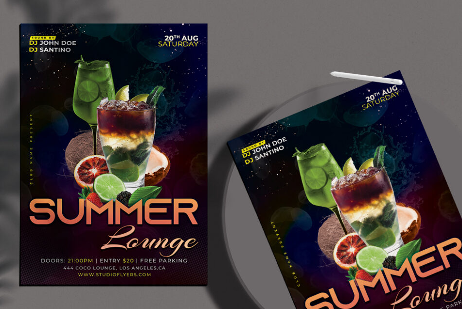 Cocktail Summer Party Flyer Free PSD Template