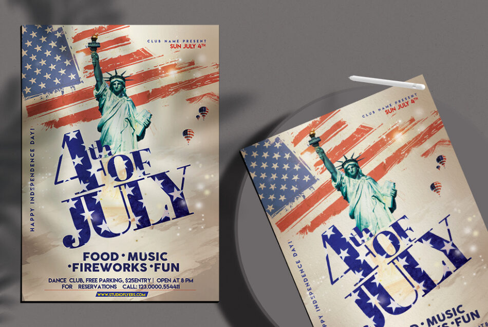 Free 4th of July Event Flyer PSD Template