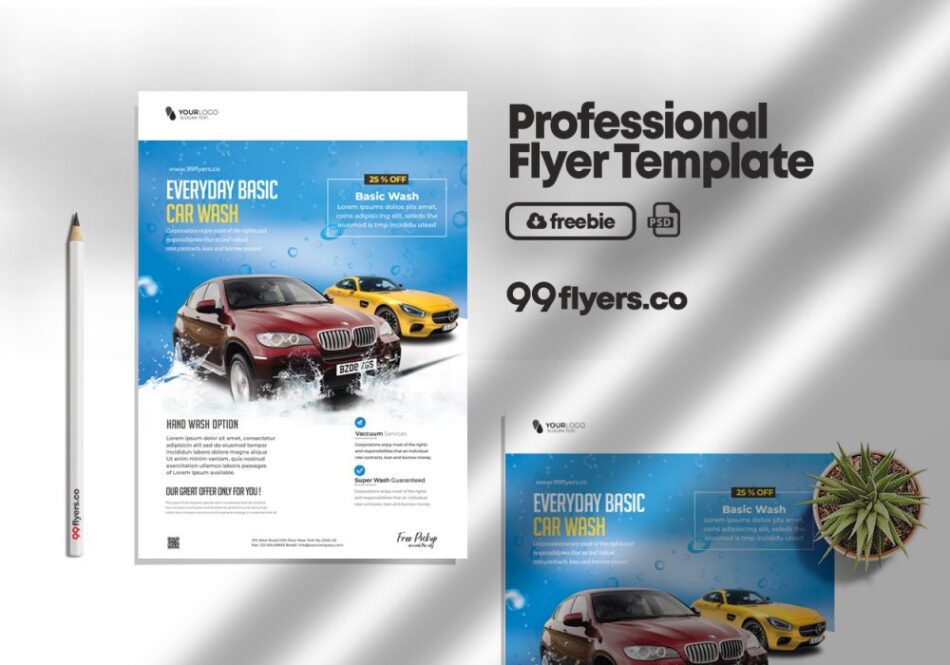 Free Car Wash Flyer PSD Template