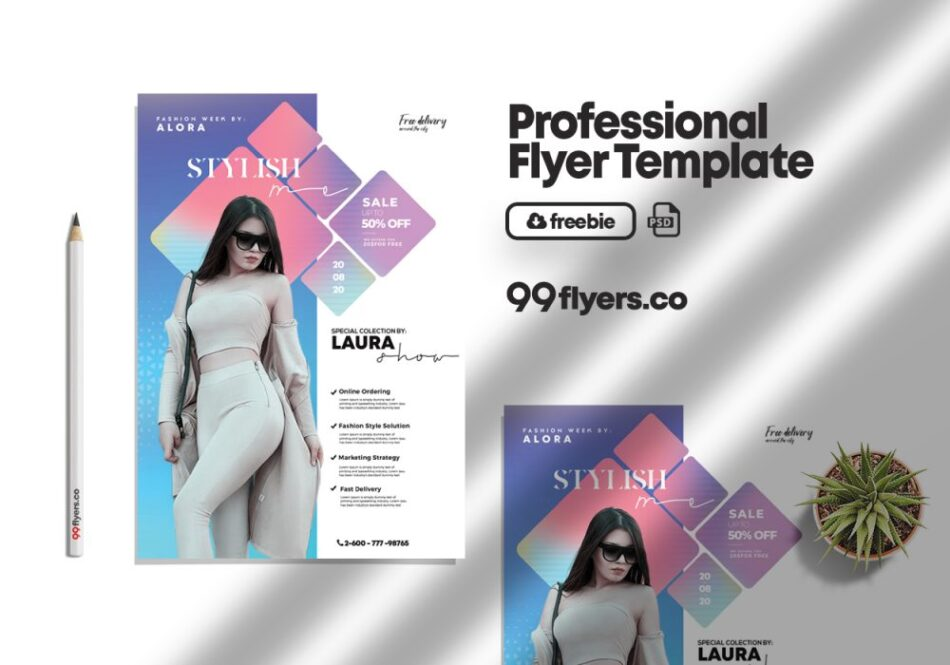 Free Fashion Summer Flyer PSD Template
