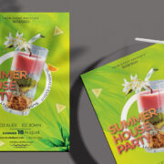 Free Summer House Cocktail Flyer PSD Template