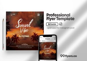 Free Sunset Vibes Flyer PSD Template