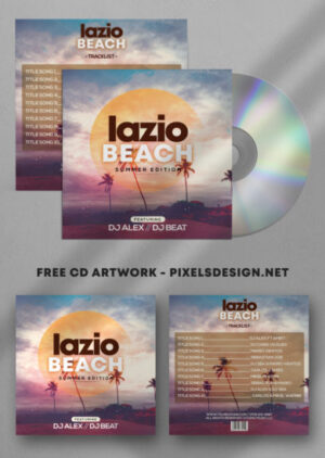 Beach Summer CD Artwork Free PSD Template