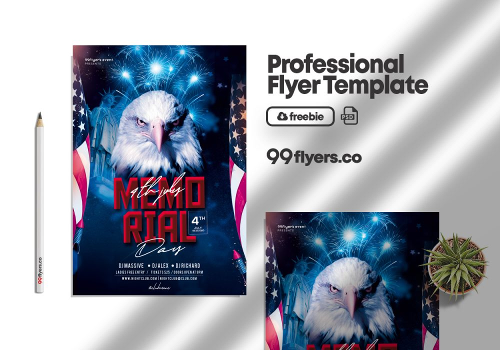 Memorial Day Event Flyer Free PSD Template