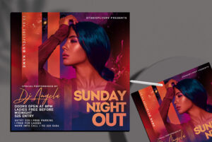 Sunday Club Party Flyer Free PSD Template