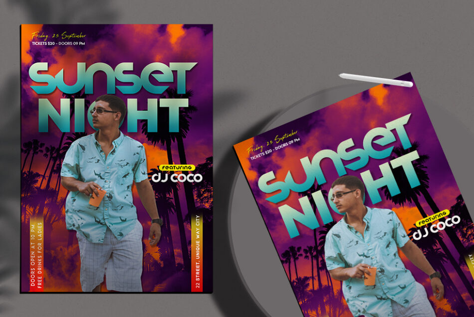 Exotic Summer Night Free PSD Flyer Template