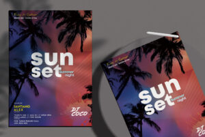 Sunset Summer Night Flyer Free PSD Template