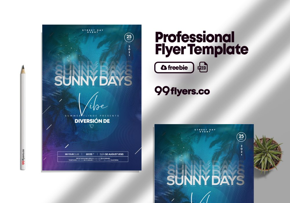 Sunset Vibe - Free PSD Flyer Template