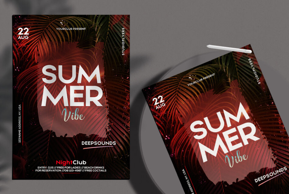 Tropical Vibe Flyer Free PSD Template