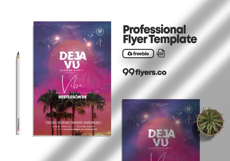 Deja Vu Party Free PSD Flyer Template