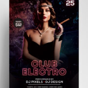 Electro Club Night Free PSD Flyer Template