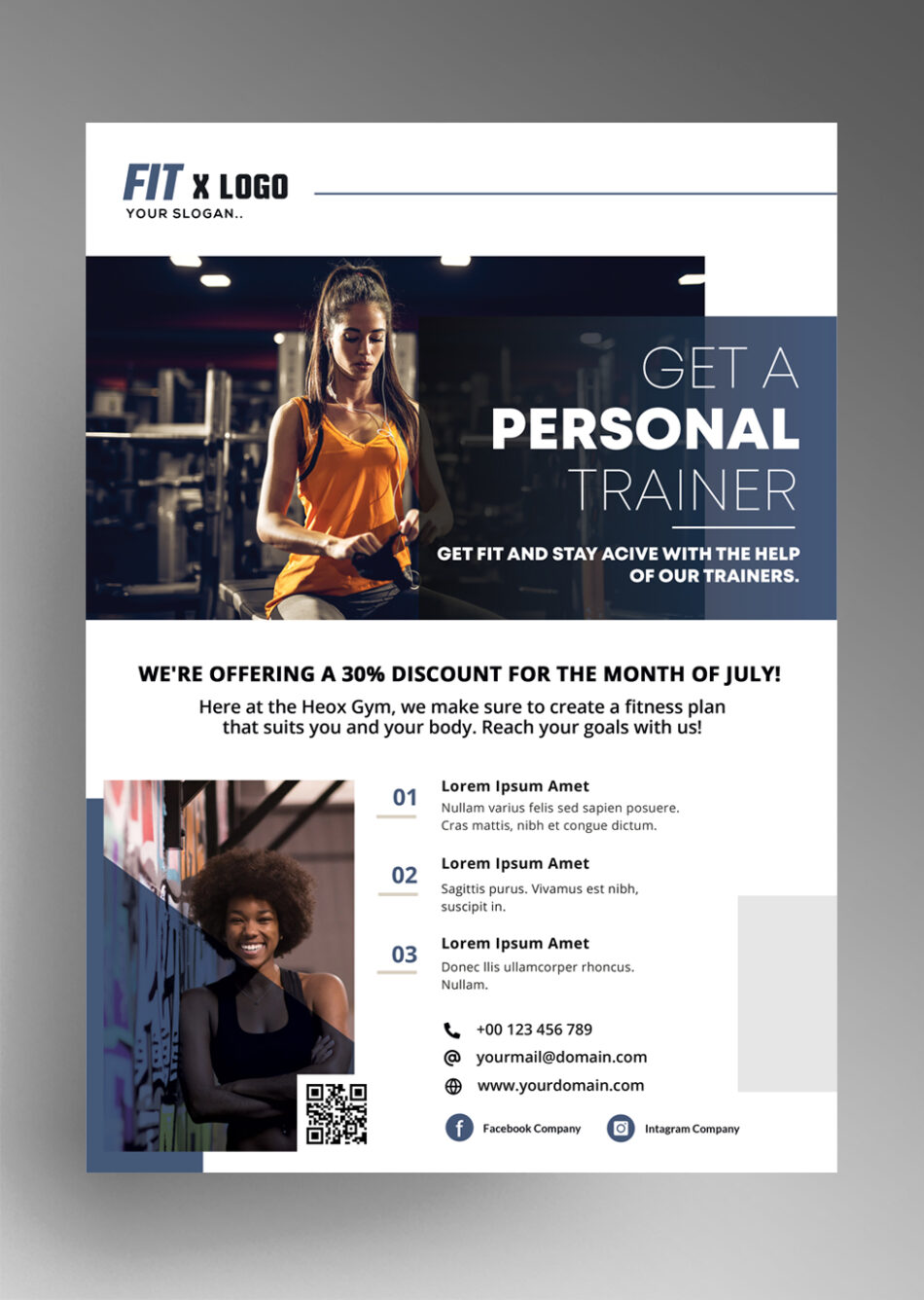 Fitness Trainer Free PSD Flyer Template