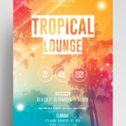 Tropical Party Event Flyer Free PSD Template
