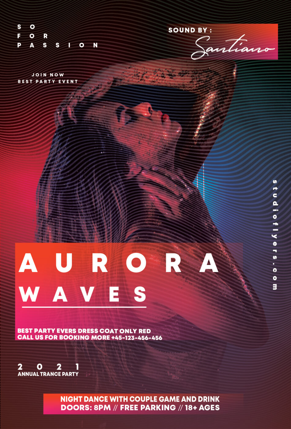 Club Waves Flyer Free PSD Template