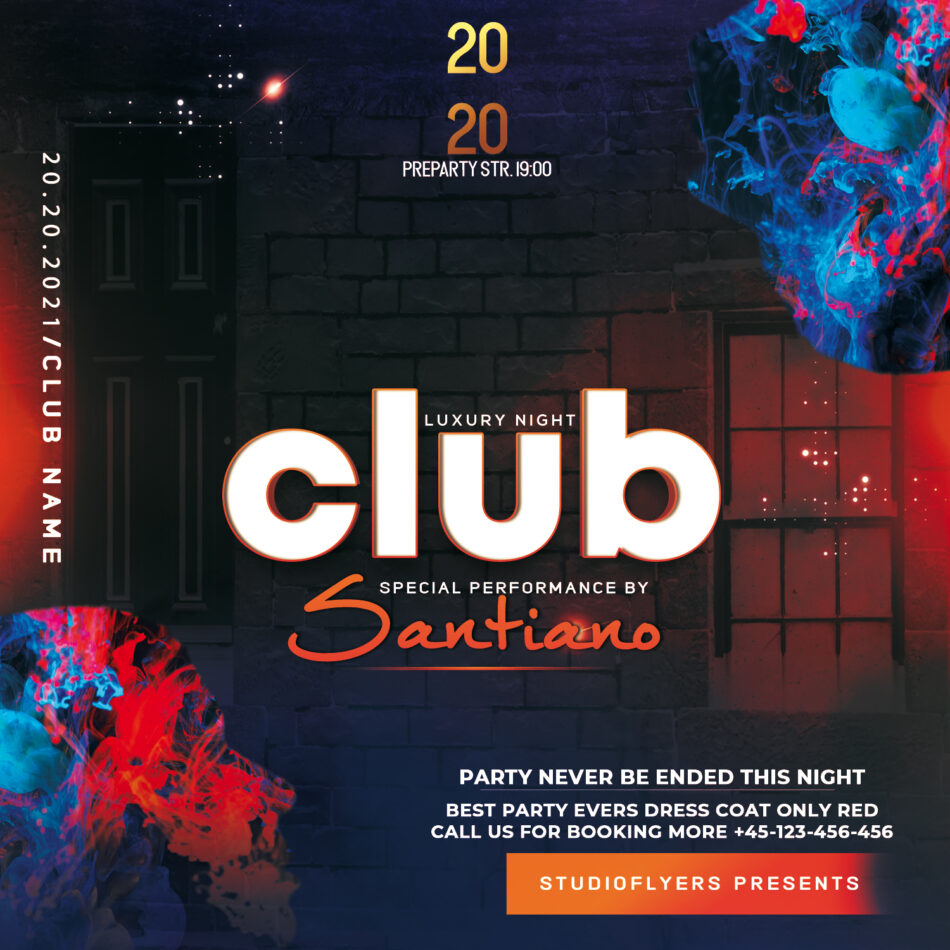 Club Event Night Flyer Free PSD Template
