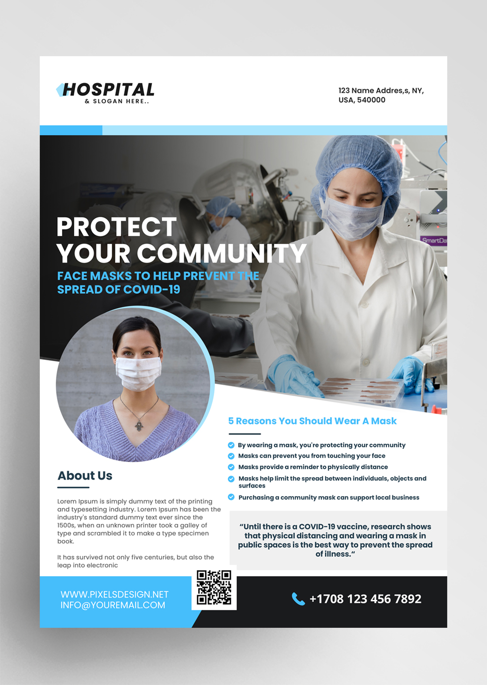 Mask Ad Free PSD Flyer Template