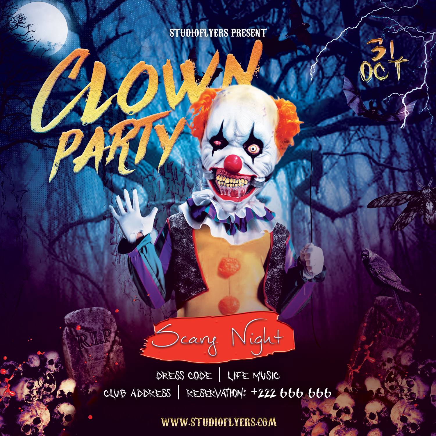 Clown Event Flyer Free PSD Templates
