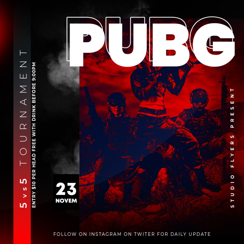 Gaming Pubg Tournament Free PSD Flyer Template