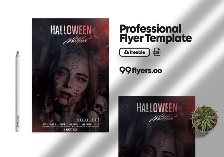 Halloween Club Party Flyer Free PSD Template