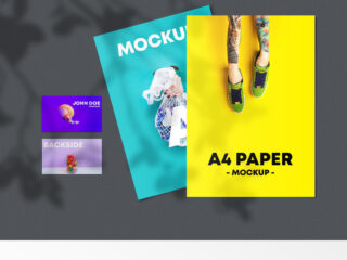 A4 Flyer & Business Card Free Mockup