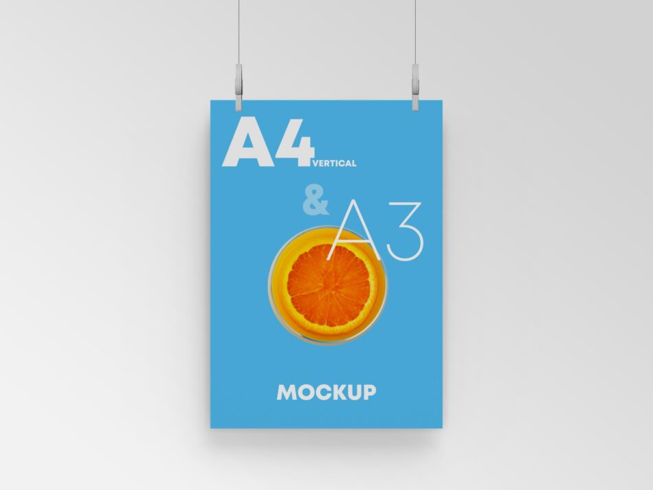 Hanging A3 Poster Free PSD Mockup