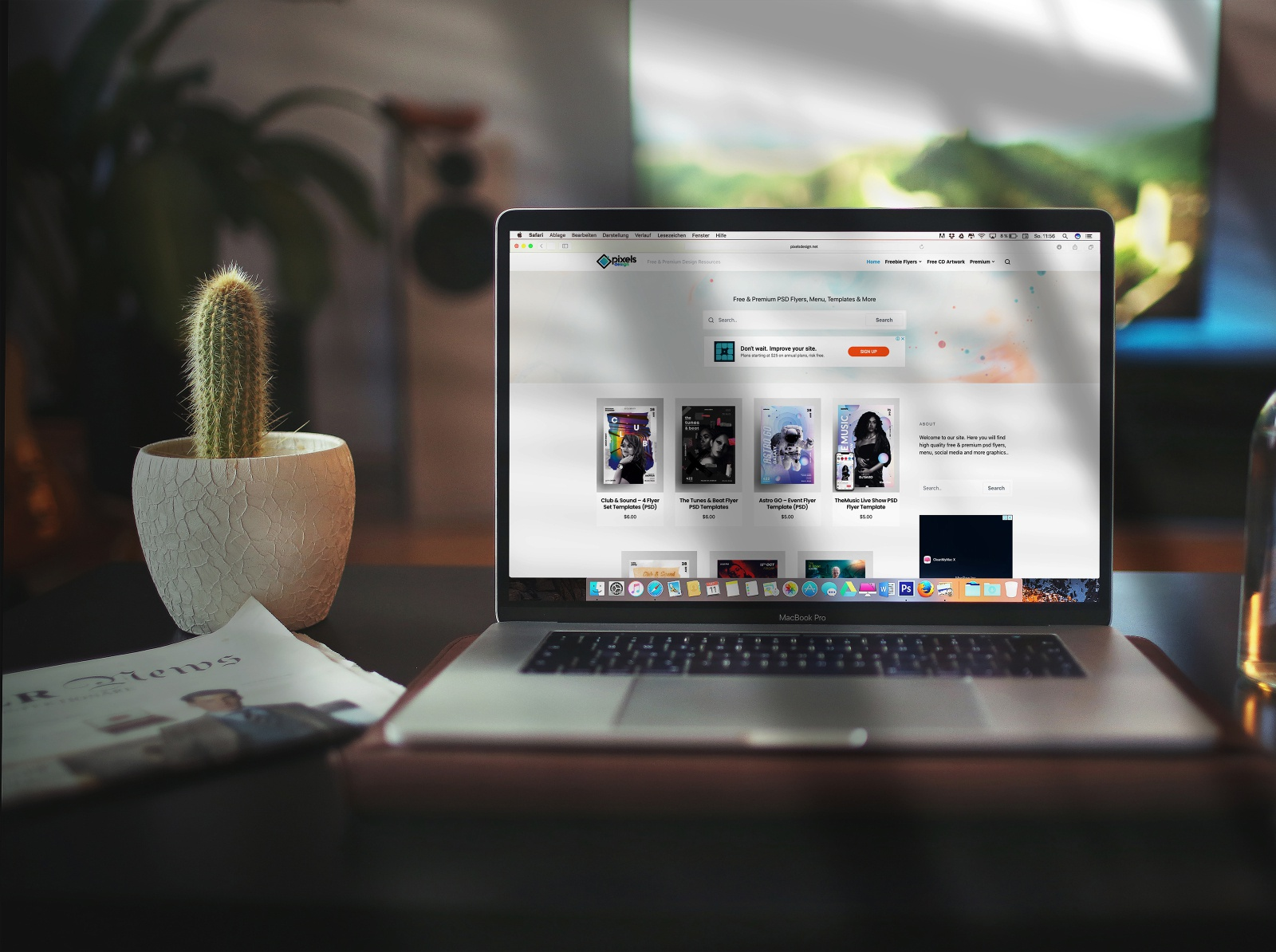 Macbook Pro on Desk Free PSD Mockup