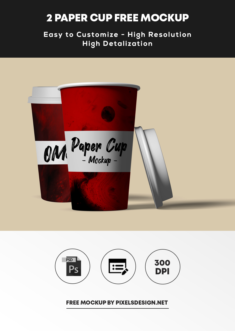 Paper Cup 2 Free PSD Mockup