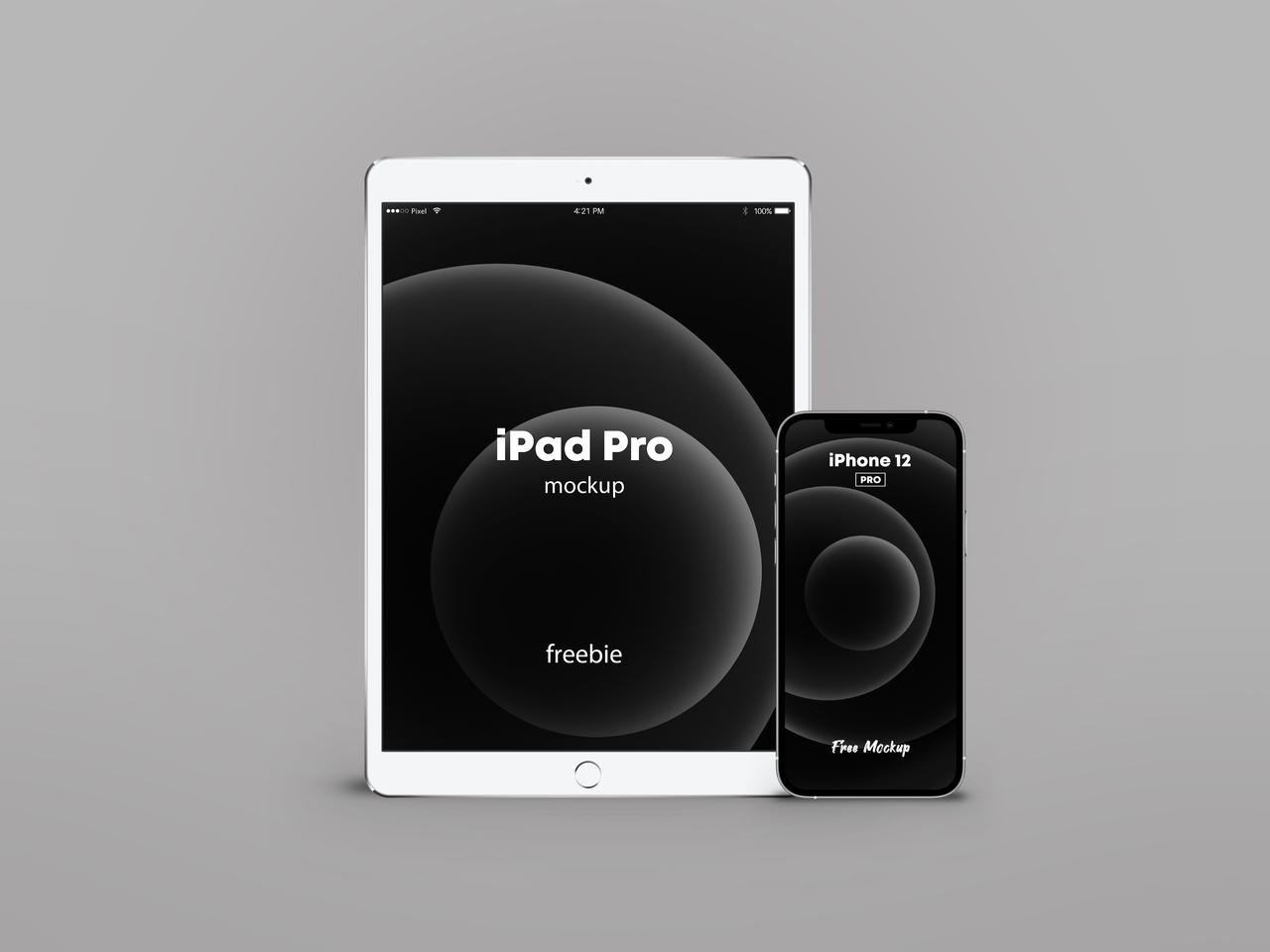 iPhone 12 Pro with iPad Pro Free PSD Mockup