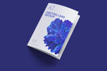 A7 Greeting Card Closed Left View Free Mockup