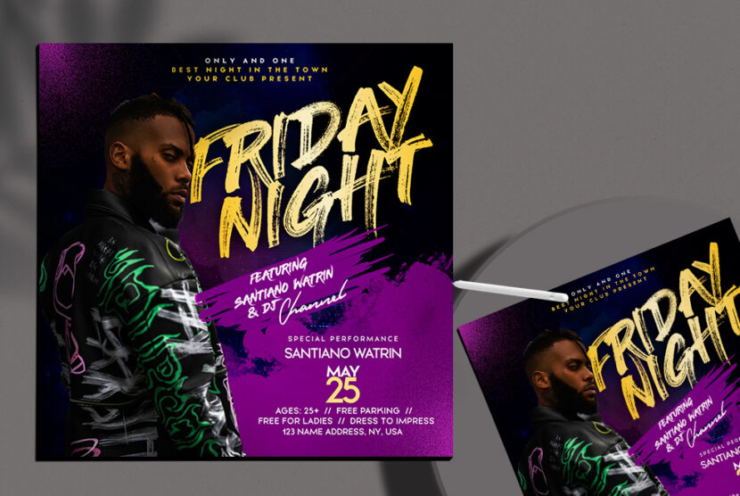 Club Friday Night Free PSD Flyer Template