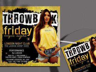 Friday Party Night Club Flyer Free PSD Template