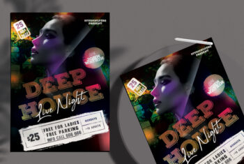 Live Night Deep House Flyer Free PSD Template