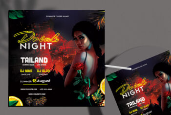 Girls Drink Night Flyer Free PSD Template