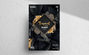 Gold Night Tropical Event Flyer Free PSD