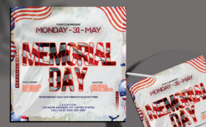 Memorial Party Day Flyer Free PSD Template