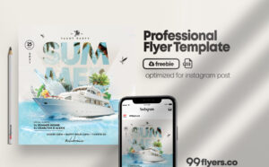 Summer Yacht Event Flyer Free PSD Template