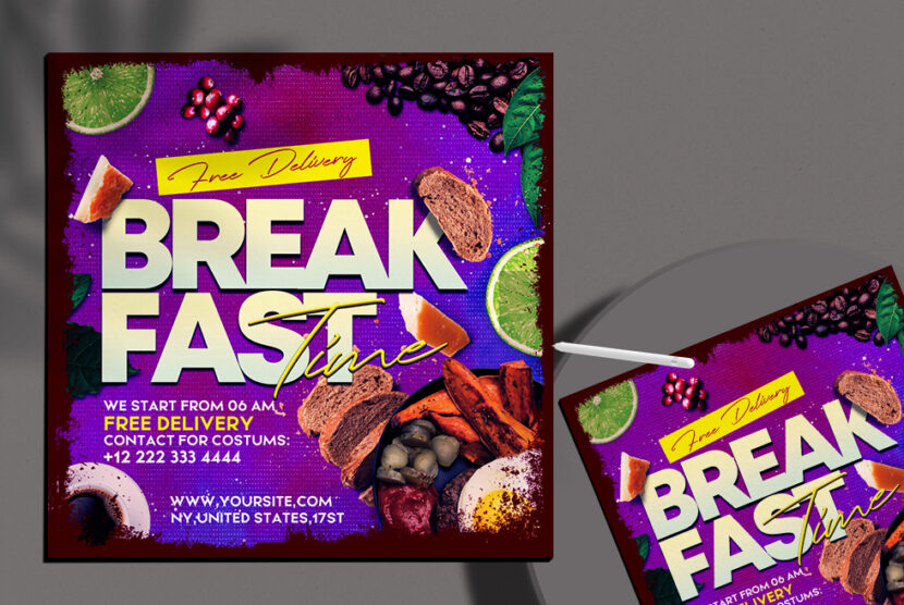 Breakfast Delivery Time Instagram Banner Free PSD